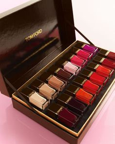 Tom Ford Vibe: Thanks. Love, Fashionista Behold the 16-color gift set. None of the colors are new , but from Naked to Bitter Bitch, all the good ones are there, and they're packaged in a posh mahogany box. Colors: Naked, Toasted Sugar, Mink Brulee, Pink Crush, Indian Pink, Fever Pink, African Violet, Plum Noir, Viper, Ginger Fire, Coral Blame, Scarlet Chinois, Smoke Red, Bordeaux Lust, Carnal Red, Bitter Bitch Buy It: Neiman Marcus.