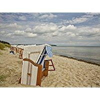 Artland Echt-Glas-Wandbild Deco Glass Andrea Potratz Am Ostseestrand auf Rügen Landschaften Strand Fotografie Blau 60 x 80 x 1,1 cm