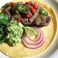This is a great recipe for authentic Mexican taqueria style carne asada tacos (beef tacos). These are served on the soft corn tortillas, unlike the American version of tacos. Mexican Dishes, Mexican Food Recipes, Beef Recipes, Cooking Recipes, Mexican Meals, Salsa Verde, Carne Asada Tacos Recipe, Great Recipes, Gourmet