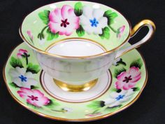 Royal Albert Artistic Green Hand Painted Floral Tea Cup and Saucer   eBay
