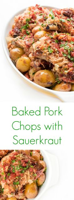 These Baked Pork Chops with Sauerkraut are a delicious sheet pan recipe that only takes 10 minutes to throw together! (Recipes To Try Fat Burning) Pork Chops And Sauerkraut, Pork Chops And Potatoes, Sauerkraut Recipes, Baked Pork Chops, Mashed Potatoes, Pork Chop Recipes, Oven Recipes, Meat Recipes, Good Healthy Recipes