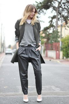 baggy leather pants from Mango, with a Topshop boutique coat, an Acne knit stolen from the boy, a slouchy tee by LNA clothing. The white wedges are by Mango
