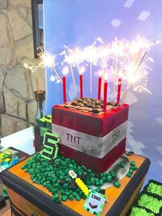 Cake with Sparkler Candles from a Minecraft Birthday Party via Kara's Party Ideas | KarasPartyIdeas.com (46):