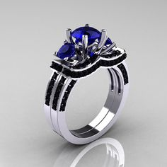 Sapphire Engagement Wedding Ring Sets