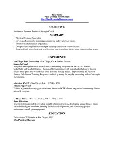 The Personal Trainer Resume Objective   Resume Template Online