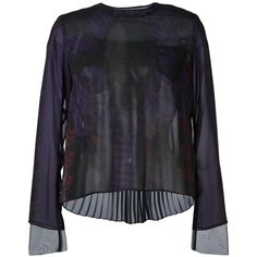 Sacai calligraphy print blouse (2.905 BRL) ❤ liked on Polyvore featuring tops, blouses, black, zipper blouse, long sleeve layering tops, print blouse, pleated top and sacai