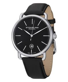 Loving this Black Casual Swiss Symphony Leather-Strap Watch on #zulily! #zulilyfinds