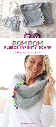 pom pom fleece infinity scarf pattern - pom pom neck warmer DIY
