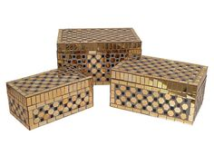 S/3 Gold & Black Mosaic Boxes