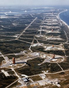Cape Canaveral Air Force Station. The North view of the missile launch pads. ~1960.