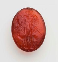 Scaraboid gem with Apollo -  Greek, Early Classical Period, 480–450 B.C.
