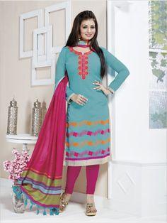 Turquoise Formal Chanderi Suit