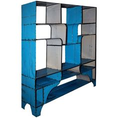 For Sale on - Fabulous vintage bookshelf. Made from reclaimed metal barrels, the color is original and the construction is solid. Made in two pieces for ease of transport Narrow Living Room, Chic Living Room, Living Rooms, Bookcase Shelves, Storage Shelves, Room Divider Curtain, Room Dividers, Creating An Entryway, Chic Office Decor