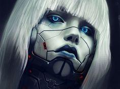 Eyes Robot Face Blonde girl Hair sci-fi cyborg women females face eyes wallpaper background