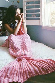 pink mermaid blankets, pink sleeping bags,  crochet mermaid blankets @veenrol