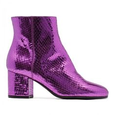 Metallic fuchsia leather ankle boots ($380) ❤ liked on Polyvore featuring shoes, boots, ankle booties, genuine leather boots, metallic ankle boots, leather ankle booties, leather booties and fuchsia boots