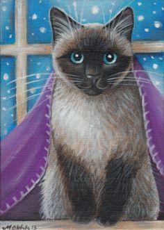 Siamese Cat - Winter Painting