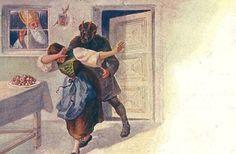 Och, sie lacht ...? Eine frühe Form von Sado-Masochismus? Titel: Krampus bestraft böses Mädchen, Nikolaus schaut durchs Fenster zu, Verlag Rafael Neuber, gelaufen, 1899