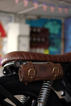 Cafe Racer with leather tool roll