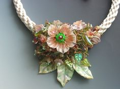 Lavish Flower Splash on Hand Braided Necklace. $210.00, via Etsy.