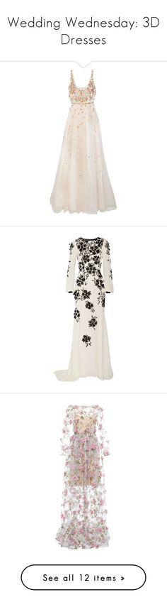 """Wedding Wednesday: 3D Dresses"" by polyvore-editorial ❤ liked on Polyvore featuring weddingwednesday, dresses, gowns, pink dress, floral dresses, embroidered gown, pink floral dress, embellished gown, oscar de la renta and long dress"