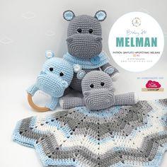 Amigurumi Patrón: Baby Kit - Hipopótamo Melman - Tarturumies Crochet Hippo, Crochet Lovey, Crochet Baby Toys, Crochet Patterns Amigurumi, Amigurumi Doll, Crochet Dolls, Crochet Edgings, Crochet Motif, Crochet Shawl