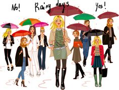 illustration by Solène Debiès for Cristina Cordula's fashion TV show Fashion Tv, Fashion Trends, Umbrella Art, Spring Looks, Rainy Days, Timeless Fashion, Manga, Outfit Of The Day, Couture