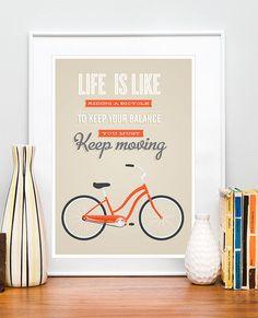 Fahrradverleih Zitat Poster drucken, Fahrrad Angebot, inspirierende Angebot retro Fahrrad, Tan Wand Dekor, Typografie, Plakat, das Leben ist wie ein Fahrradfahren ETSy