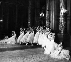 Dancers of the Paris Opéra photographed in the Foyer de la Danse of the Palais Garnier, c. 1954