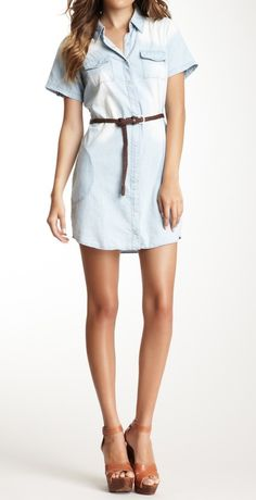 Chambray dress + wedges