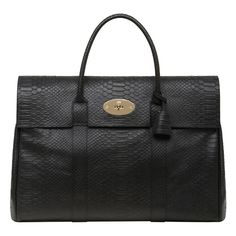 Mulberry Piccadilly Black Silky Snake Print Holdall Postman's Lock closure Hidden padlock in hanging leather pouch Brushed leather interior Two internal ...
