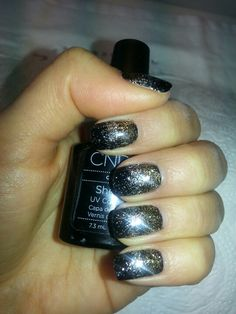 Sparkle Nails! CND Shellac Polish in Black Pool with gold and silver glitter!