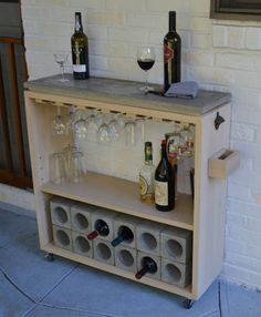 Rolling Concrete Slab Top Bar and Kitchen Shelf Wine Rack