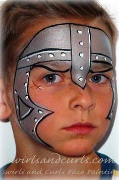Knight or guard face painting.interesting idea for costume for a children's… Face Painting For Boys, Face Painting Designs, Paint Designs, Body Painting, Mask Painting, Boy Face, Child Face, Medieval Party, Knight Party