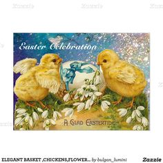 ELEGANT BASKET ,CHICKENS,FLOWERS AND EASTER EGGS 5X7 PAPER INVITATION CARD