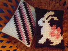 White Chocolate Bunny Mini Pillows in Needlepoint SET of TWO by BunniesMadeOfBread on Etsy