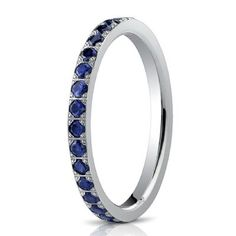 Blue sapphire eternity ring (but in platinum with a comfort fit / curved inside)