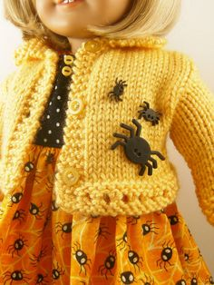 Halloween 18 Inch Doll Clothes Fits American Girl Yellow Hand Knitted Sweater and Spiders Webs and Dots Sleeveless Dress