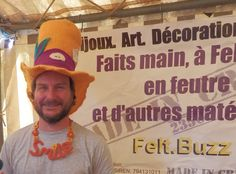 Me at a market in Genioux (Octobre 19 2014) with needle felted top hat