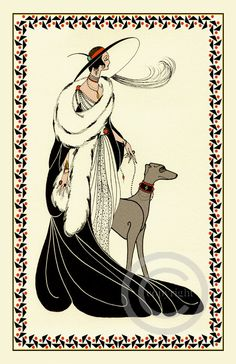 Whimsical Art Deco Glamour Lady high Society in Gown walking her Grey hound dog Silhouette Flapper Vamp Giclee Fine Art Print 11x17 no.2