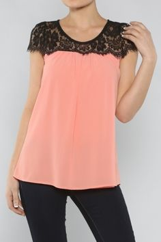 Peach and Lace Top