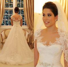 Lindo Vestido de noiva branco/marfim de renda vestido de noiva customizado tamanho 4 6 8 10 12 14 16 | Roupas, calçados e acessórios, Casamentos e ocasiões formais, Vestidos de noiva | eBay!
