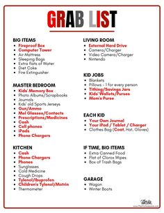 A Grab List is an essential part of a Emergency Kit.things that aren't realistic to have packed and ready to go, but are extremely important. Don't wait until you are in the moment to think through what you should take! Emergency Preparedness Food, Survival Prepping, Survival Skills, Survival Gear, Wilderness Survival, Hurricane Preparedness Kit, Zombies Survival, Doomsday Prepping, Survival Supplies
