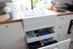Unsere neue Ikea-Küche | hej.de, schubfächer unter der Spüle