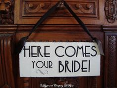 Art Deco Wedding Sign - HeRe CoMeS YouR BRiDe - Here Comes The Bride by lizzieandcompany, etsy