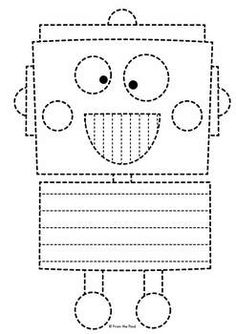 Robot Big Shape Tracing {Prewriting Activity} by From the Pond Preschool Writing, Preschool Worksheets, Preschool Learning, Preschool Activities, Prewriting Skills, Tracing Shapes, Pattern Worksheet, Toddler Themes, Numbers Kindergarten