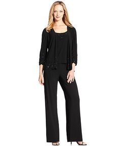 Alex Evenings Dress Suit, Three-Quarter-Sleeve Beaded Jacket, Sleeveless Top & Dress Pants - Womens Suits & Suit Separates - Macy's