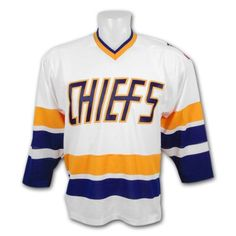 *Slapshot* Charlestown Chiefs Replica Home Jersey Size XL by Mad Brothers. $119.00. Official home hockey jersey of the Charlestown Chiefs from the Slap Shot movie. -100% polyester Air-Knit -Chiefs twill appliqu? logo -Option: Customize with your favorite Chiefs player or any other name!