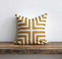 Doha metallic gold & off-white handprinted organic hemp pillow cover.