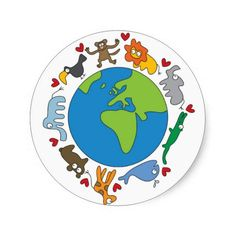 Shop Cute Fun Cartoon Animals Of The World Earth Classic Round Sticker created by fat_fa_tin. Personalize it with photos & text or purchase as is! Kids Prints, Wall Art Prints, Animals Of The World, Our Planet, Cool Cartoons, Custom Posters, Sticker Design, Custom Stickers, Iphone Case Covers